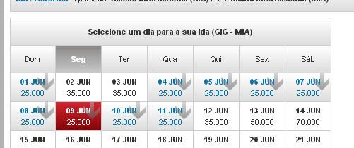 Miami por 25.000 pontos pelo Multiplus Fidelidade para Junho