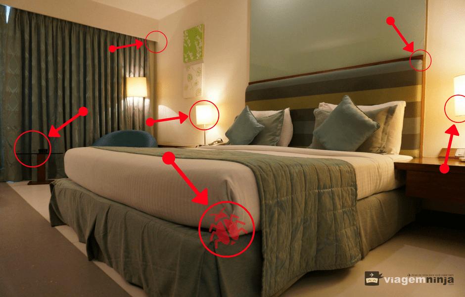 Quarto de hotel com bicho